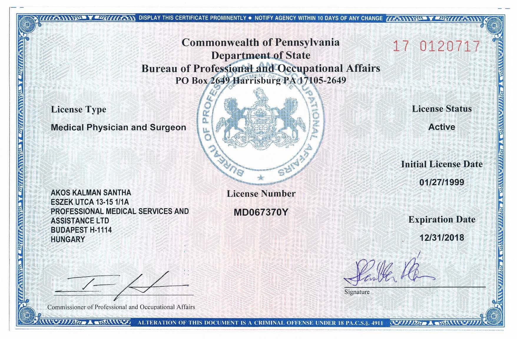 license medical pennsylvania verification commonwealth certifications dr board licenses certified physicians licensed hungary